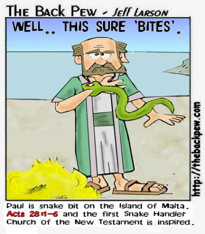 This Bible Cartoon From The Book Of Acts Remembers Paul Being Snake Bit After Ship Wrecked