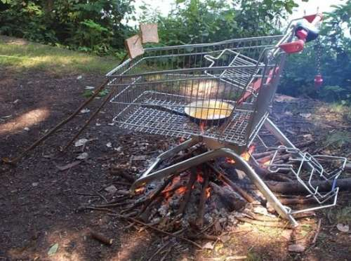 Funny Pictures of Grocery Cart Barbecue Grill