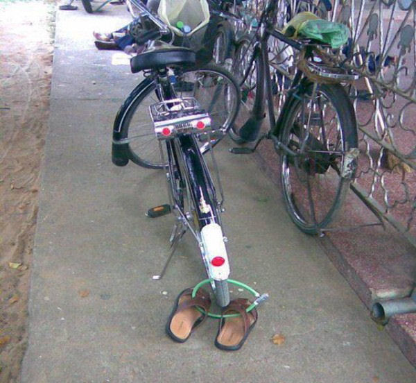 bike lock sandals funny pictures entertainment