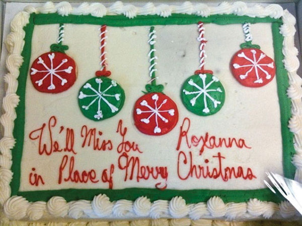 A funny office Christmas cake.
