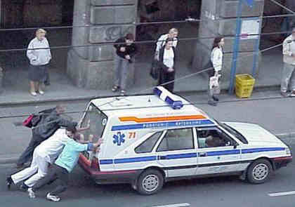 Funny Pictures of People Pushing Ambulance