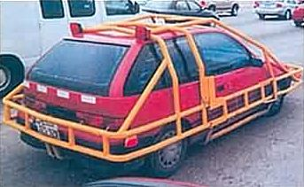 Funny Pictures of Car Surrounded by Bumper Bars