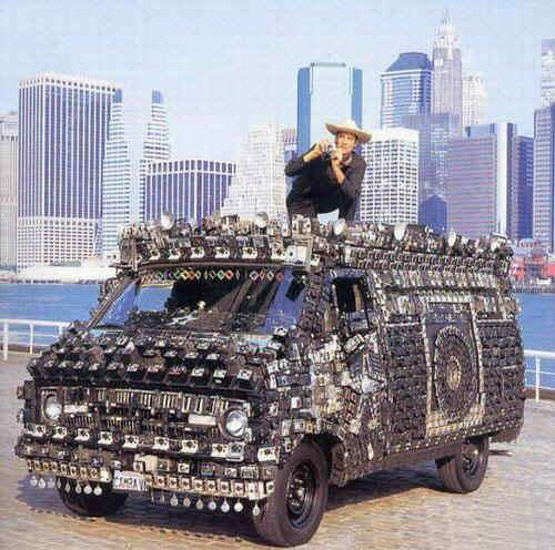 Funny Pictures of Van Covered In Cameras