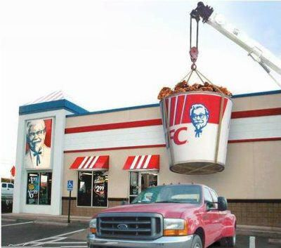 Funny Pictures of Giant Kentucky Fried Chicken Bucket