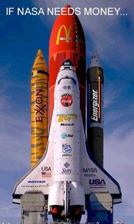 Funny Pictures of Space Shuttel Covered In Advertising