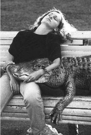 Funny Pictures of Woman Sleeping on Bench with Crocodile