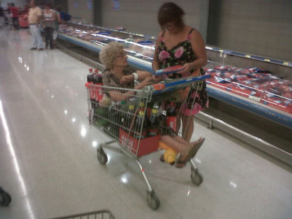 a funny picture of shopping with grandma