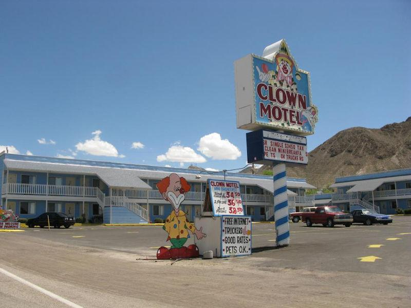 A Funny Sign in front of the Clown Motel