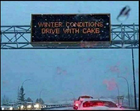 Marie Antoinette gives winter driving advice on a road sign