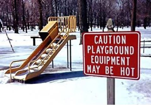 Funny Pictures of Hot Playground Equipment Sign