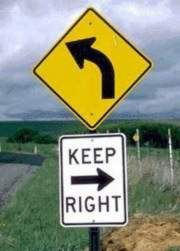 Funny Pictures of A Sign Indicating Left and Right Directions