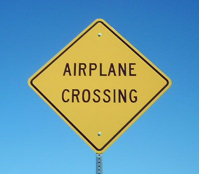 Funny Pictures of Airplane Crossing Sign