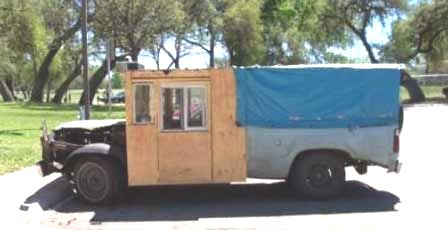 Funny Pictures of Pickup Truck with Plywood Cab