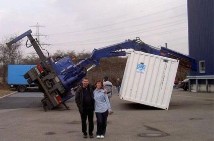 Funny Pictures of Container Crane Tipped Over