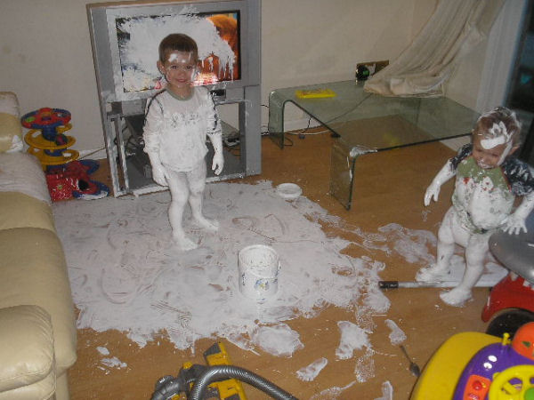 A funny kids and spilled paint picture