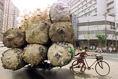Funny Pictures of Bicycle Pulling Recycled Plastic