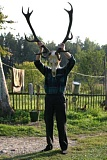 Funny Pictures of Man With Antlers Skull On Head