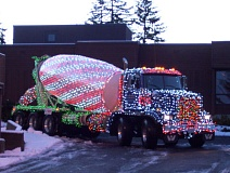 Cement Mixer Decorated with Christmas Lights