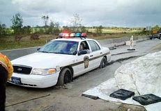 Funny Pictures of A Police Car Stuck In Cement