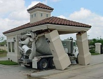 Funny Pictures of Cement Truck Hitting Bank Roof