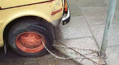 Funny Pictures of Car Chained To Pole
