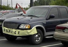 Funny Pictures of Ford Pickup Truck with Paper Bumper