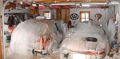 Funny Pictures of Cars Covered By Ice In Garage