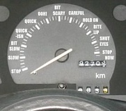 Funny Pictures of Text Filled Speedometer.