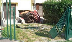 Funny Pictures of Car Crashed Into House