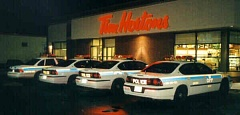 Funny Jokes Pictures of Police Cars Outside of Tim Hortons Donut Shop
