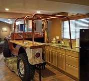 A funny picture of a renovated kitchen that looks like a jeep