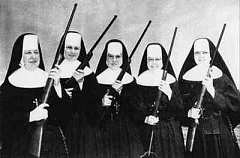 Funny picture of nuns holding shotguns