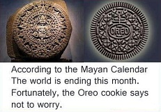Picture of Oreo and Mayan calendar