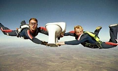 Funny Pictures of Skydiving With Toilet