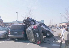 Funny Pictures of Cars Crashed Fighting for a Parking Spot.