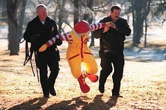 Funny Pictures of Ronald McDonald Under Arrest