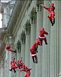 Funny Pictures of Santa's Rappelling
