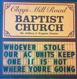 A funny Baptist church sign