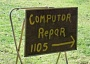 A funny computer repair sign