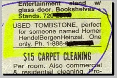 Funny Pictures of Ad Selling Used Tombstone