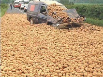 A van accident hitting potatoes