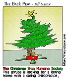 A funny Christmas tree cartoon