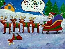 Funny Christmas Cartoon of Santa With a Flat